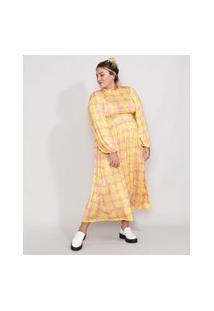 Vestido Feminino Plus Size Mindset Midi Estampado Floral Manga Bufante Rosa
