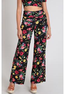 88de91711860d7 Calça Feminina Pantalona Estampada Floral Cós Largo Preta