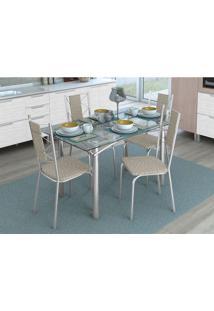 Conjunto De Mesa Com 4 Cadeiras Marthe Cromado E Marrom