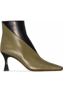 Manu Atelier Ankle Boot Duck Bicolor Com Salto 80Mm - Preto