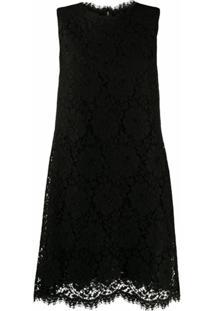 Dolce & Gabbana Vestido Reto Com Renda - Preto