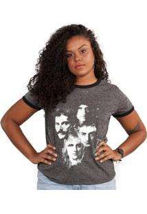 Camiseta Ringer Feminina Queen Faces - Feminino-Grafite
