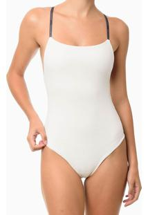 Body Elástico Personalizado Fino - Off-White - P
