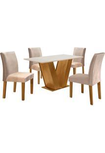 Conjunto De Mesa De Jantar Com 4 Cadeiras Classic V Suede Off White E Bege