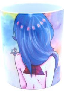 Caneca Bad Rose Personagem Autoral - Br1659 - Azul E Rosa Aquarelado