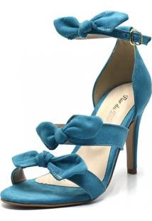 Sandália Salto Fino Flor Da Pele Azul Turquesa