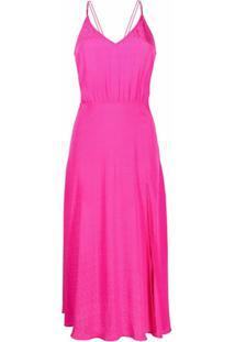 Rotate Slip Dress De Jacquard Com Padronagem Trançada - Rosa