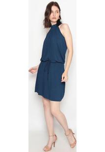 Vestido Com Gola E Amarração- Azul- Vittrivittri