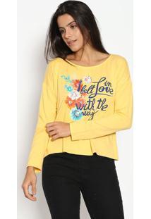 Blusa Floral Com Inscriã§Ã£O - Amarela & Azul Marinho Enfim