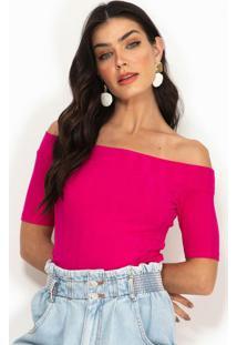Blusa Ombro A Ombro Canelada Rosa