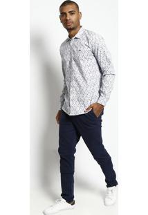 Camisa Floral Com Bordado - Branca & Azul Marinhotriton