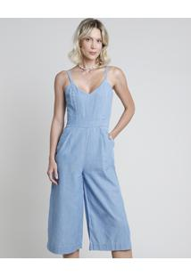 Macacão Jeans Feminino Pantacourt Com Bolsos Alça Fina Azul Claro