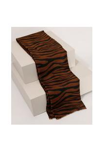 Lenço Feminino Estampado Animal Print Zebra Marrom