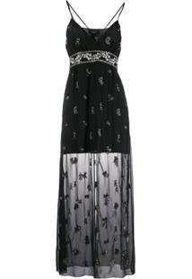Amiri Vestido Floral Com Sobreposição - Preto