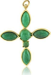 Pingente Toque De Joia Cruz Pedra Verde - Feminino-Dourado