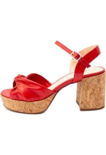 Sandália Plataforma Ferrucci Couro Hibisco Feminino - Feminino-Vermelho