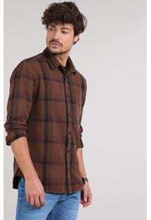 Camisa Masculina Estampada Xadrez Manga Longa Marrom Escuro