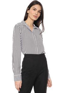 Camisa Seda Banana Republic Lim Ls Parker Stripe Preto/Branco