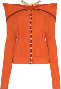Y/Project Necklace Detail Ribbed Wool Cardigan - Laranja