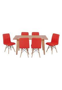 Conjunto Mesa De Jantar Em Madeira 150X80 Vértice + 6 Cadeiras Gomos - Vermelho