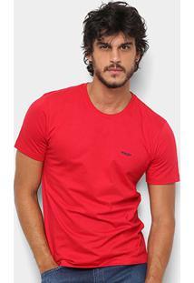 Camiseta Wrangler Básica Bordada Logo Masculina - Masculino-Vermelho