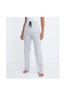 Calça De Pijama Em Viscose Poá | Lov | Branco | Gg