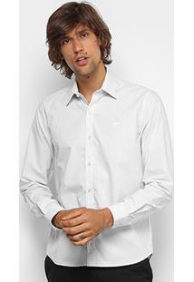 Camisa Listrada Lacoste Ml Regular Fit Masculina - Masculino