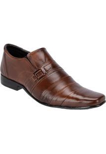 Sapato Social Masculino Couro Detalhe Costuras Leoppé - Masculino-Marrom