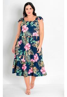 Vestido Floral Marinho Com Alças Plus Size