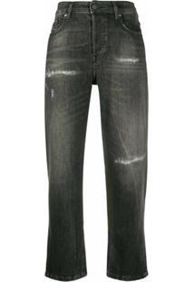 Diesel Calça Jeans Cintura Alta Com Destroyed - Cinza