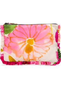 La Doublej Clutch Floral Com Zíper - Rosa