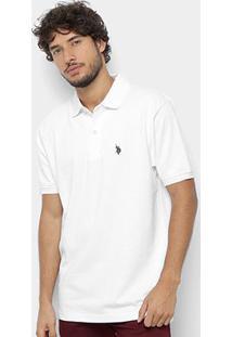 Camisa Polo U.S. Polo Assn Básica Lisa Masculina - Masculino-Branco