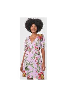 Vestido Forum Curto Floral Lilás