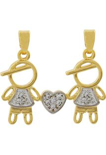 Pingente Narcizza Semijoias Gêmeos - 2 Meninos Cravejado Com Zircônia Cristal Ouro