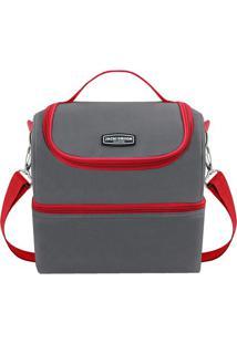 Bolsa Térmica- Cinza & Vermelha- 28X27X22,5Cm- Jjacki Design