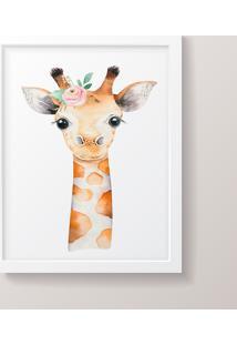 Quadro Decorativo Girafa Menina Moldura Branca