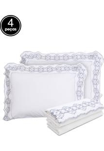 Jogo De Cama Casal Buddemeyer 4Pã§S Super Romantic Piemonte Branco - Branco - Dafiti