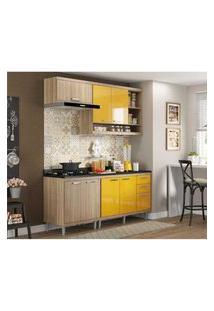Cozinha Completa Multimóveis Com 5 Peças Sicília 5811 Argila/Amarelo