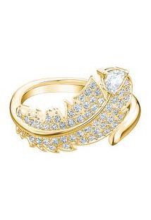 Anel Nice Banhado À Ouro Amarelo- Dourado & Azul- Taswarovski