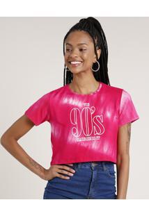 "Blusa Feminina Cropped ""90'S"" Estampada Tie Dye Manga Curta Rosa"