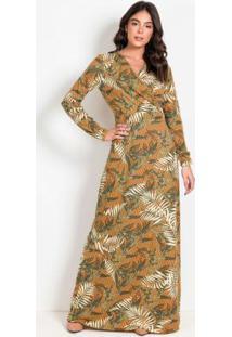 Vestido Com Transpasse Folhagens Moda Evangélica