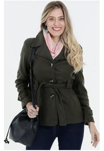 Casaco Feminino Trench Coat Tecido Soft Marisa