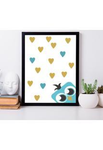Quadro Decorativo Infantil Coruja Love Preto - 30X40Cm - Multicolorido - Dafiti