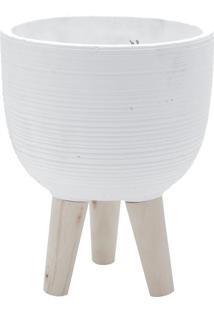 Vaso Concreto Com Pé Madeira Round Stripes Branco 17,5X17,5X21,5 Cm Urban