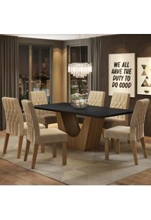 Conjunto Sala De Jantar Madesa Eduarda Mesa Tampo De Madeira Com 6 Cadeiras Marrom - Tricae