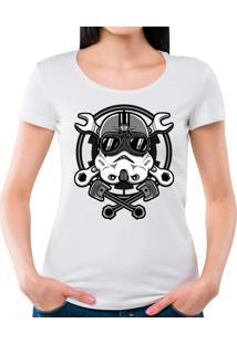 Camiseta Feminina Stormtrooper Racer Geek10 - Branco