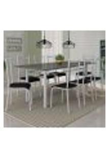 Conjunto De Mesa Cordoba Com 8 Cadeiras Lisboa Branco Prata E Preto Liso