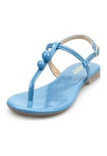 Sandália Rasteira Realeza Fio Dental Bolinha Verniz Azul