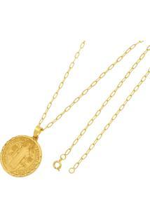 Pingente São Bento Com Corrente Folheado A Ouro 18K Tudo Jóias Modelo Cadeado Trabalhado Dourada