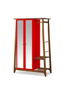 Armario Multiuso Stoka 2 Portas Vermelho Estrutura Amendoa 169Cm - 60970 Preto